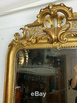 MIROIR DE CHEMINÉE D'ÉPOQUE NAPOLÉON III EN BOIS DORÉ DE 181CM DE HAUT XIXe