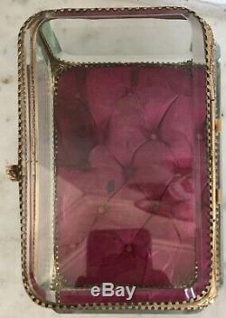 Magnifique GRANDE boite bijoux verre biseauté XIX 19TH Jewels BOX Laiton Bronze