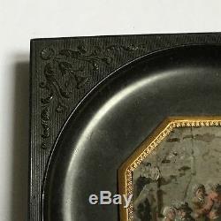 Miniature Peinte d'après Téniers En Fixé Sous Verre Cadre en Gutta Percha XIXè
