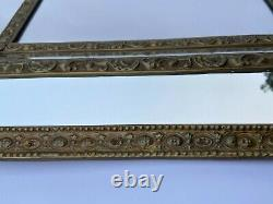 Miroir A Parcloses Napoleon III XIX Eme Laiton Repousse Grande Decoration L379