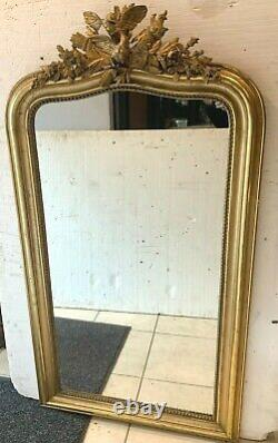 Miroir Napoléon III en bois et stuc doré Miroir a fronton XIX siècle