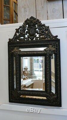 Miroir à Parecloses Napoléon III En Bois Noirci Et Laiton, époque XIX ème