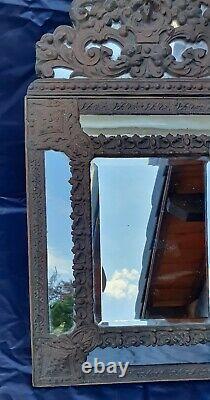 Miroir à parecloses mercure laiton repoussé tete de lion Epoque Napoléon III XIX