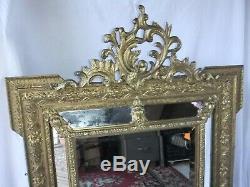 Miroir ancien parclose mercure bois stuc pareclose trumeau XIX