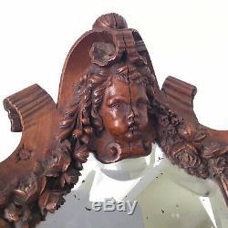 Miroir en Bois Sculpté Tête Ange Putti Napoléon III XIXè Victorian Mirror 19th C