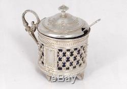 Moutardier argent massif Minerve orfèvre Berthier Napoléon III silver XIXè