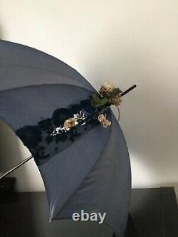 Ombrelle Ancienne XIXè Napoléon III Soie Dentelle Victorian French Umbrella 19C