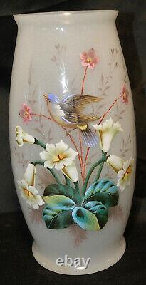 Paie de vases opalin. Décor émallé d'oiseaux et fleurs. Époque Napoléon III. XIXè
