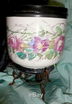 Paire De Cache Pot Epoque Napoleon III En Metal & Porcelaine- Xix° Siecle