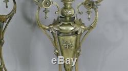 Paire De Chandeliers Napoléon III En Bronze Et Marbre, époque XIX ème