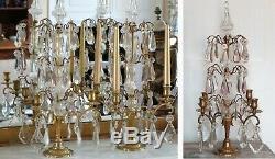 Paire De Girandoles Xix° Cristal Bronze Dore 4 Etages De Pampilles