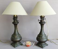 Paire De Lampes Napoléon III, Bronze Patiné, XIX ème