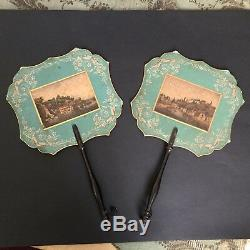 Paire EVENTAILS ECRANS Anciens XIXè NAPOLEON III Victorian FANS Ventaglio 19thC