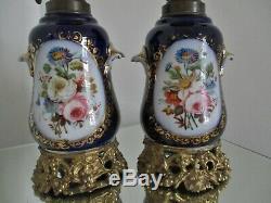 Paire Lampes Huile / pétrole PORCELAINE Valentine Bayeux Paris XIXe Napoléon III