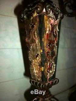 Paire chandelier candélabre Marqueterie Boulle Candlestick XVIII ou XIX eme