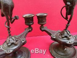 Paire chandeliers bougeoirs bronze XIXe époque Napoléon III Heron tortue serpent
