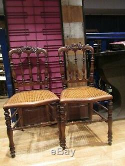 Paire d anciennes chaises en acajou XIXe de mudique napoleon III cannées