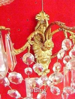 Paire d'appliques bronze et cristal à 3 bougeoirs époque XIX ème (Napoléon III)