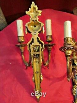 Paire d appliques st LXVI XIXe bronze doré au carquois feuillage napoleon III
