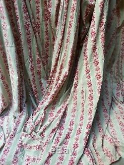 Paire de Rideaux Anciens ciel de lit baldaquin coton imprimé Napoléon III XIXe