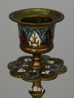 Paire de bougeoirs Bronze démaux cloisonnés France, XIXe