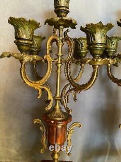 Paire de candélabres en métal patiné sur marbre rouge XIXe Napoléon III