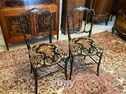 Paire de chaises de chambre XIXe Napoléon III décor doré sur fond noir