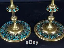 Paire de chandeliers laiton + émaux cloisonné de Limoges XIX° siècle