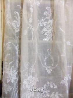 Paire de grands rideaux anciens broderie Cornely 2m75 x 1m50 XIXe Napoléon III