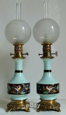 Paire de lampes à pétrole / Huile XIXe NAPOLEON III Porcelaine de Paris oiseaux