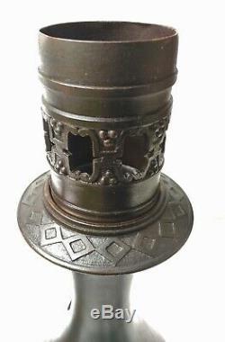 Paire de lampes huile / pétrole bronze Têtes de lion XIXe Empire Napoleon III