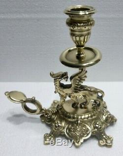 Paire de superbes BOUGEOIRS de table bronze XIXè dragons ailés CANDLESTICKS