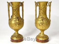 Paire vases bronze doré F. Barbedienne musicien bergère lézard marbre XIXè