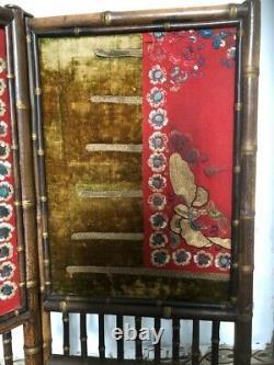 Pare Feu Napoleon III (style bambou tissus Japonisant XIXe) paravent H90 cm