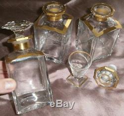 Partie de cave à liqueur Napoléon III / fin XIX Cristal taillé doré en l'état