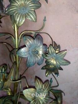 Parties de chandelier candélabre d'église bronze laiton fleurs de lys XIX ème