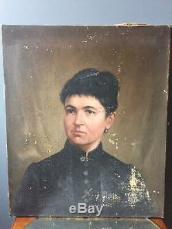 Peinture ancienne portrait féminin femme de qualité XIX em siècles napoléon III