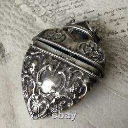 Pendentif Vinaigrette en Argent XIXè Coeur Couronne Écrin Victorian Silver Hart