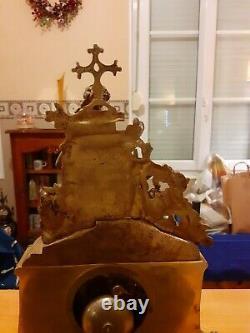 Pendule Doré Regule Bronze XIX ème Clock Pendulum Louis XVI Napoléon III 42 cm