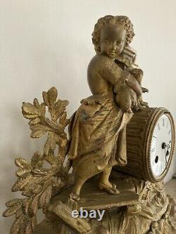 Pendule Régule, Bronze et tôle dorée + sonnerie. Époque XIXe par E. GAILLOT