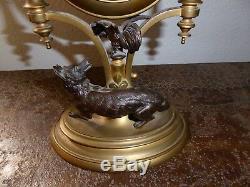 Pendule bronze d'après Jean de la Fontaine fable le coq et le renard XIXe
