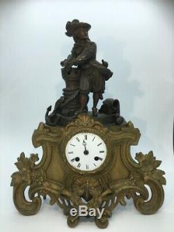 Pendule bronze doré Pirate navigateur époque XIXe napoleon III old clock