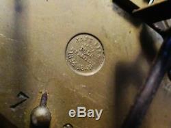 Pendule portique à colonnes Napoléon III marqueterie Japy XIXe, à restaurer