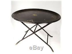 Petite table d'appoint plateau ovale noirci nacre dorure Napoléon III XIXè