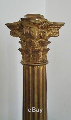Pied de Lampe à Pétrole 48,5 cm Bronze doré Colonne Corinthienne XIXe