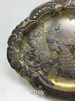 Plateau Métal Argenté Japonisant Paon XIX EME Napoléon III Antique Tray 19 th