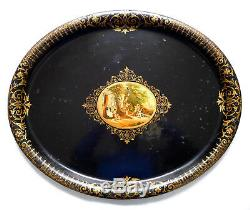 Plateau en tôle peinte dorée, époque XIXe Napoléon III