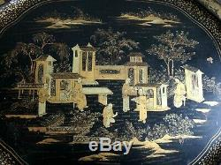Plateau laque Chine 72cm Napoléon III Old large chinese tray lacquer canton XIX