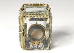 Porte-montre boîte pendulette laiton doré verre biseauté Napoléon III XIXè