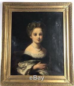Portrait De Jeune Fille Epoque Napoleon III -xixe Siecle Huile Sur Toile